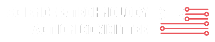 white Science & Technology Action Committee logo,
